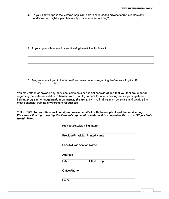 C2H Provider/Physician Health Form Page 2